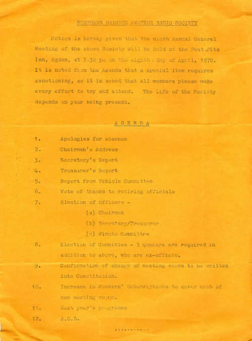 Notice of Ninth A.G.M. 1970